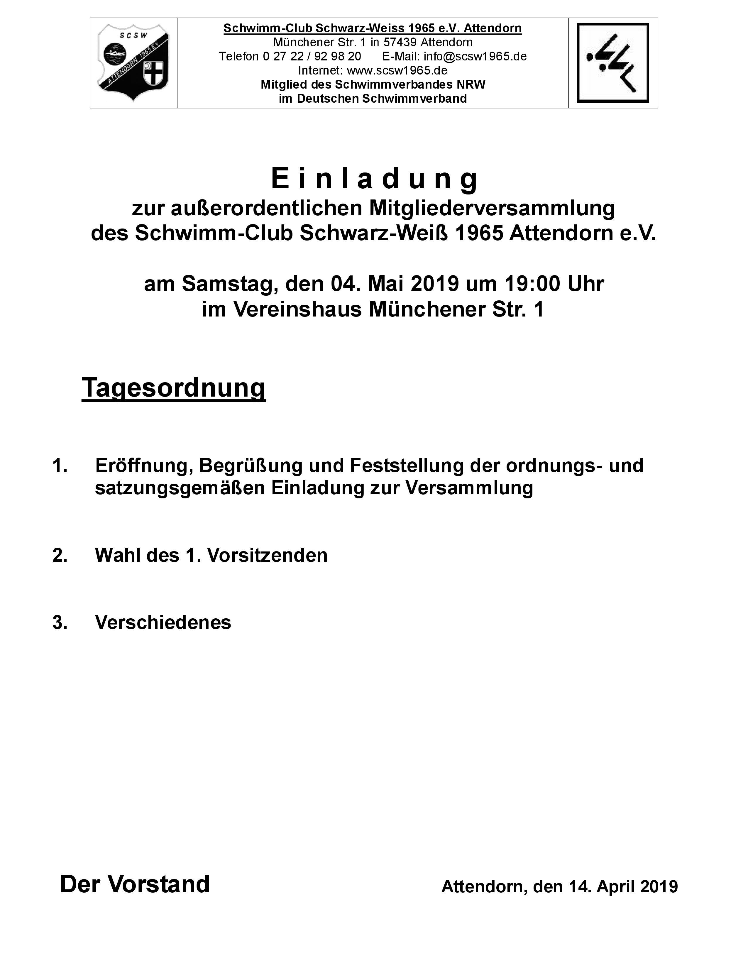 Einladung Zur Ausserordentlichen Mitgleiderversammlung Scsw Attendorn 1965 E V